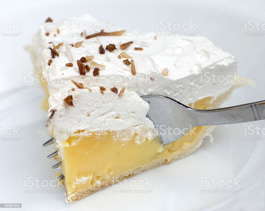 Coconut Cream Pie and fork stock photo