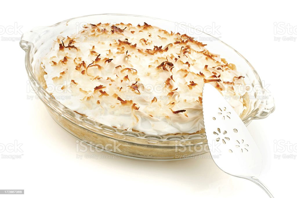 Coconut Cream Pie with Server stock photo