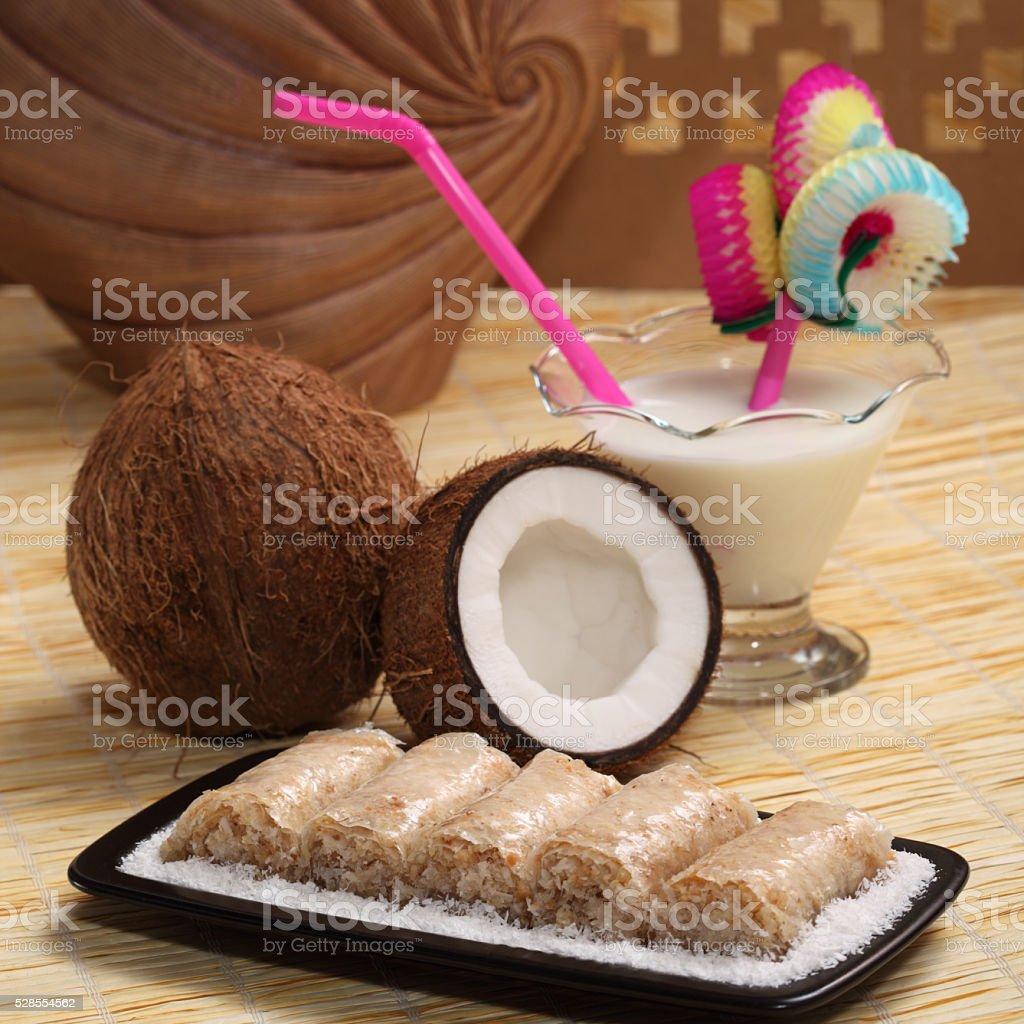 coconut dessert stock photo