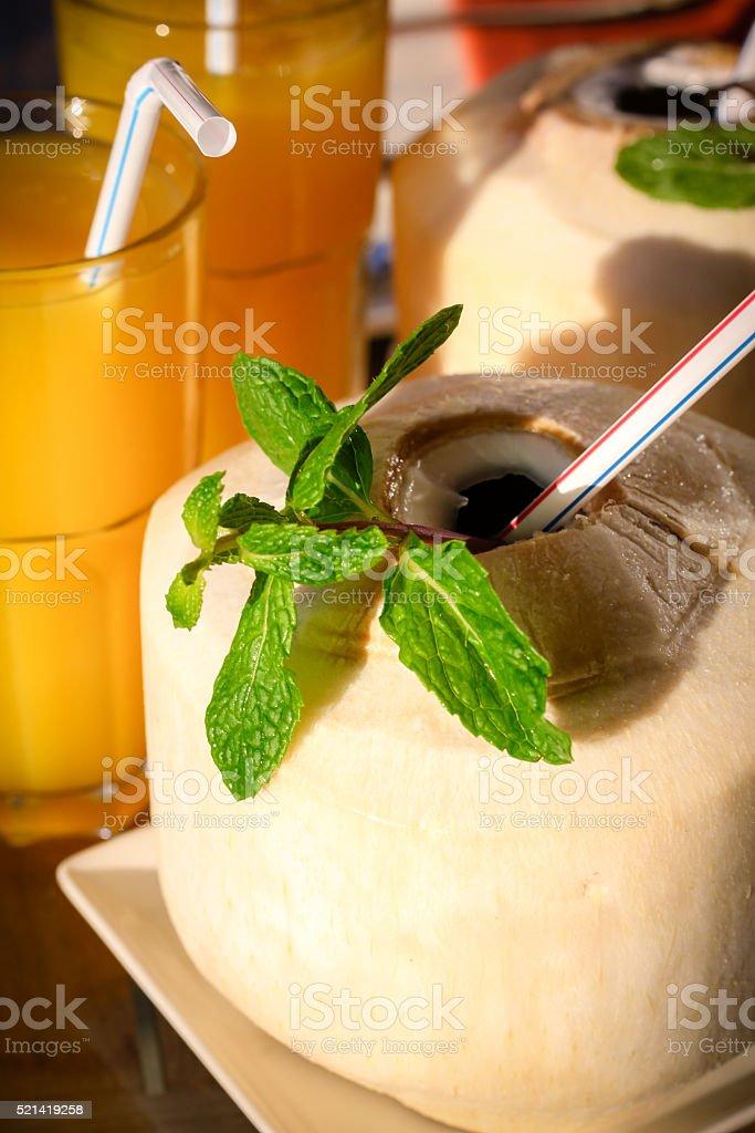 Coconut Drink and Mango Juice stock photo