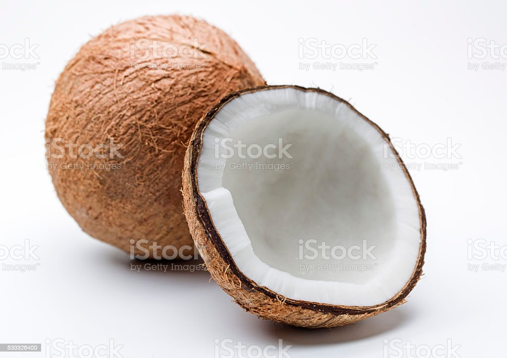 Coconut drupes split stock photo