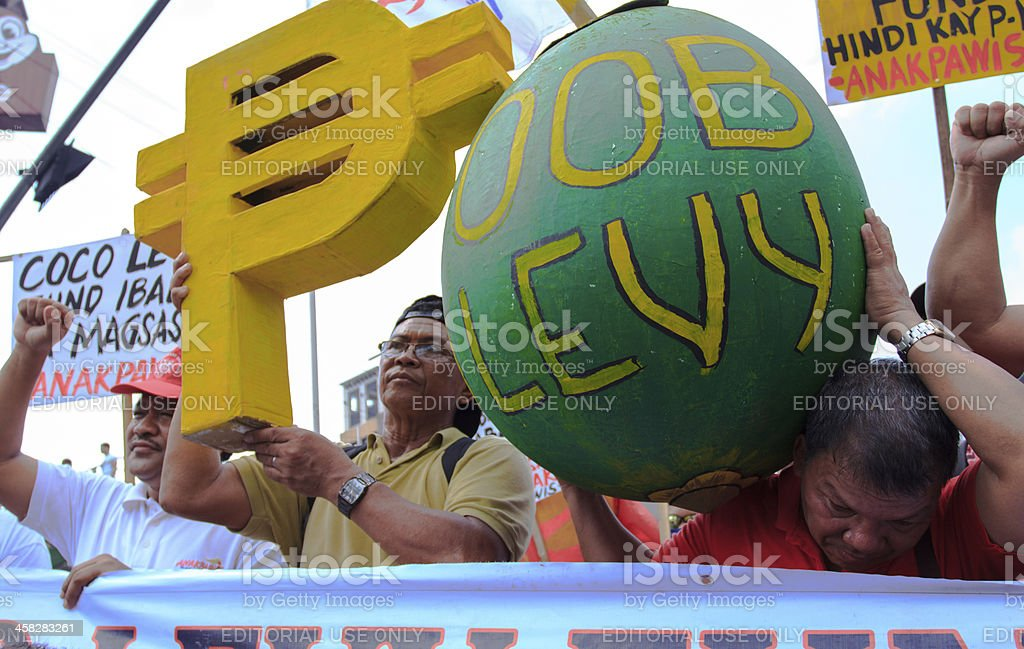 Coconut farmers during the protest at Mendiola peace arc stock photo