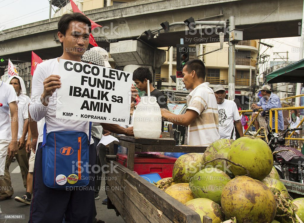 Coconut farmers protest stock photo