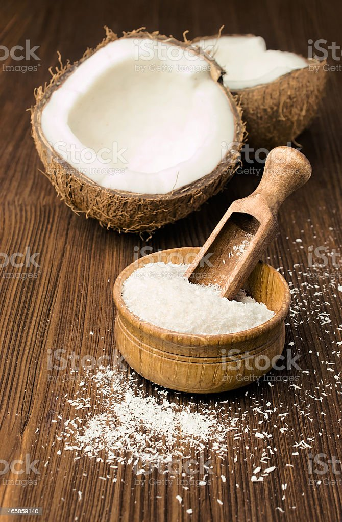 coconut flakes and fresh coconut stock photo
