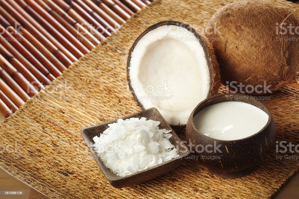 Coconut Food Products Flakes and Milk Still Life Horizontal stock photo