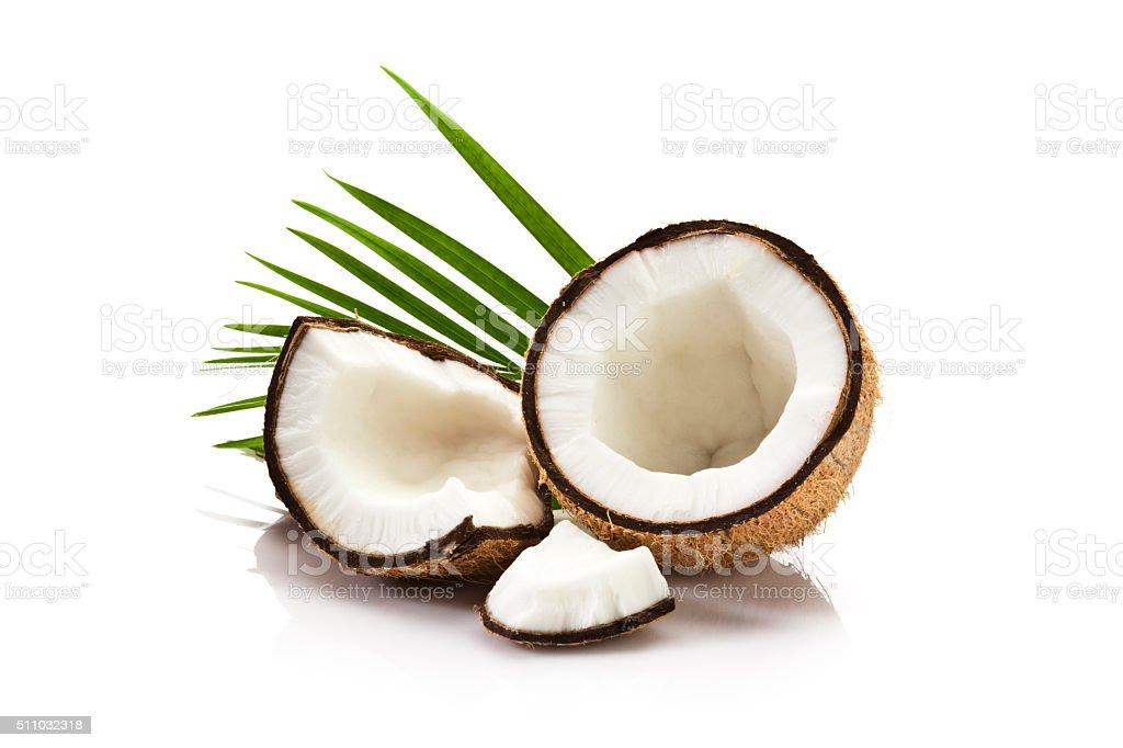 Coconut fruit isolated on white background stock photo