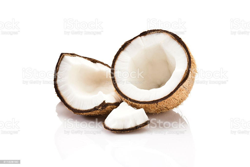Coconut fruit isolated on white background stock photo