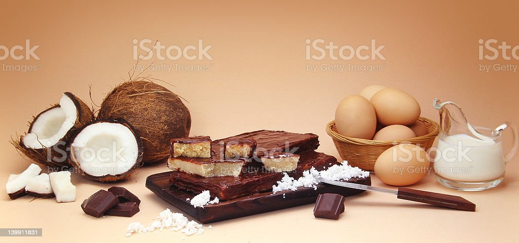 Coconut fudge composition with ingredients royalty-free stock photo