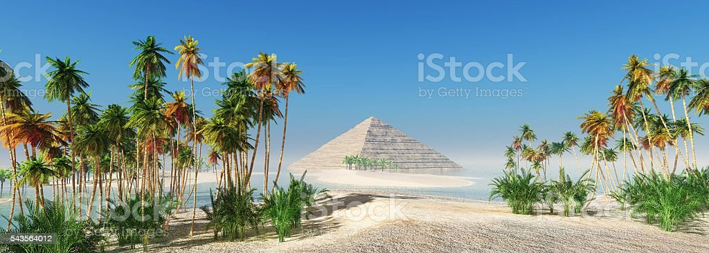 coconut grove and Egyptian pyramid stock photo