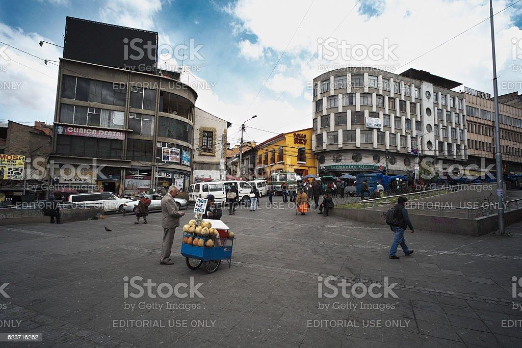 Coconut Juice Seller in La Paz stock photo