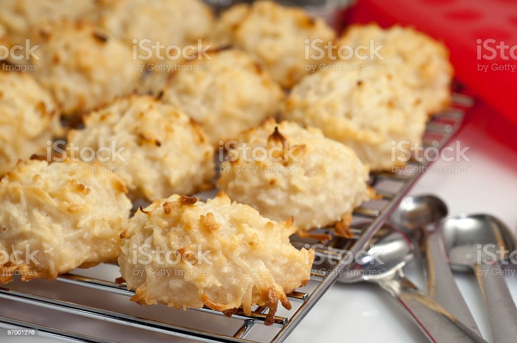 Coconut Macaroons and Baking Utensils stock photo