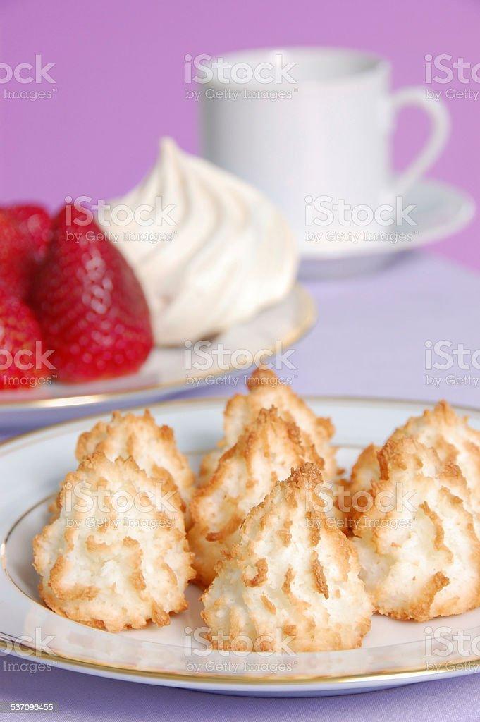 Coconut Macaroons and Meringue Kisses stock photo