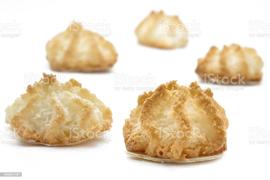 Coconut macaroons christmas cookies on white stock photo