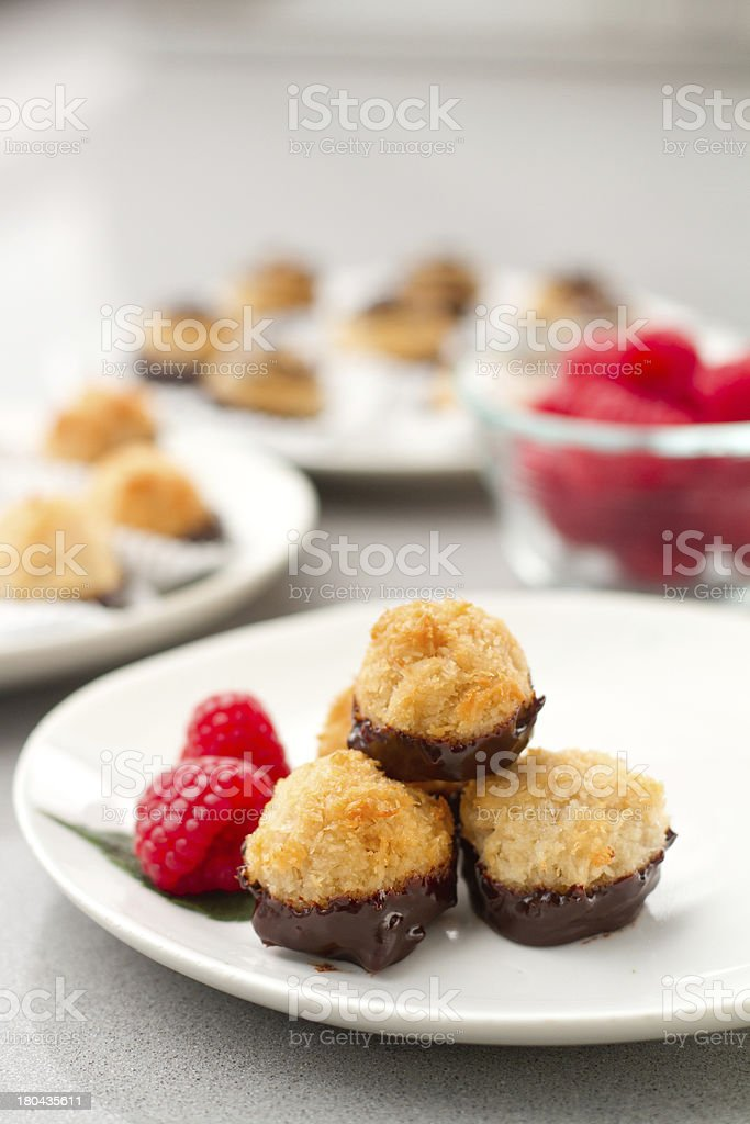 Coconut Macaroons - dipped stock photo