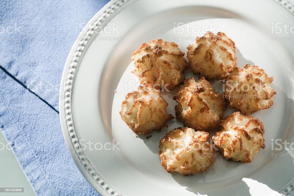 Coconut Macaroons on a Plate Horizontal stock photo