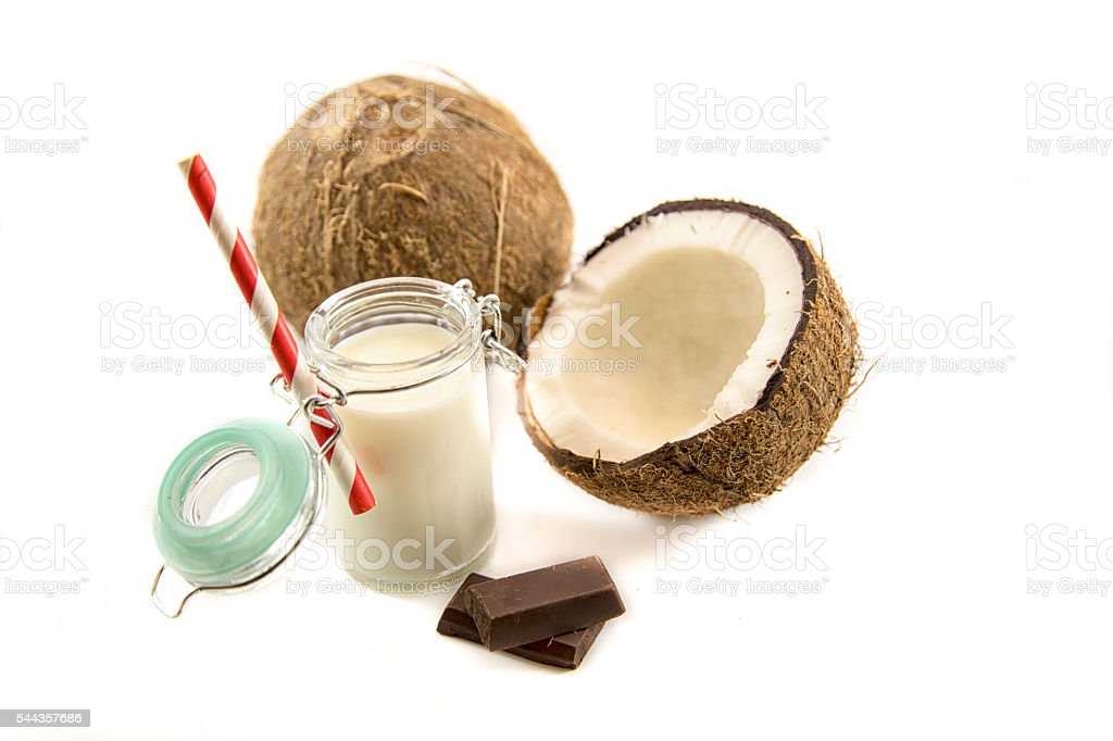 Coconut milk and coconut isolated on white stock photo