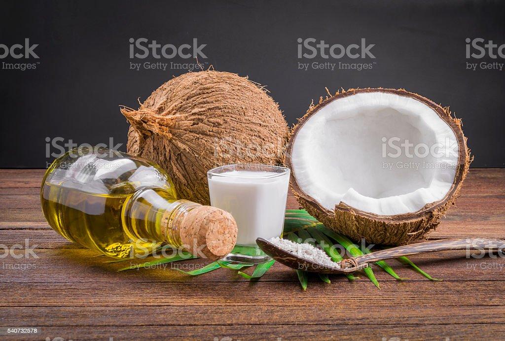 Coconut milk and coconut oil stock photo