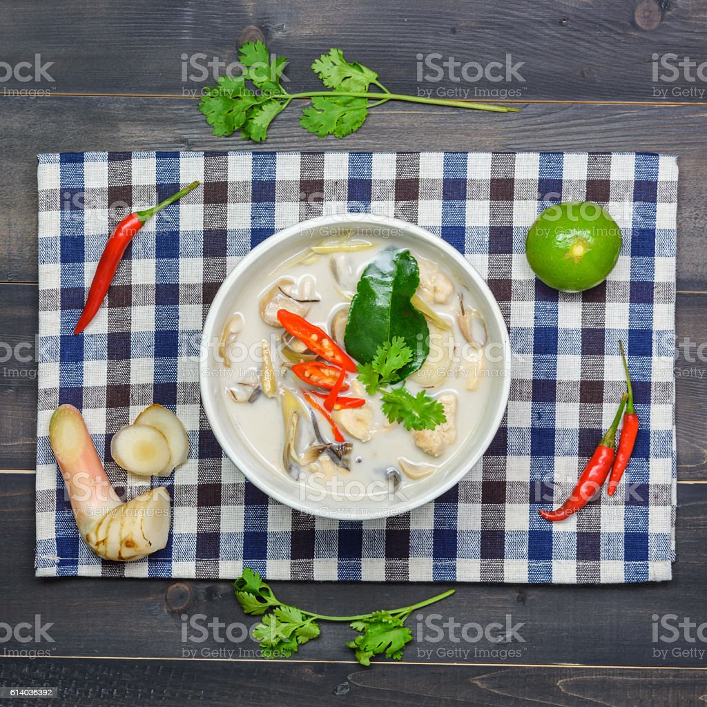 coconut milk soup with chicken stock photo