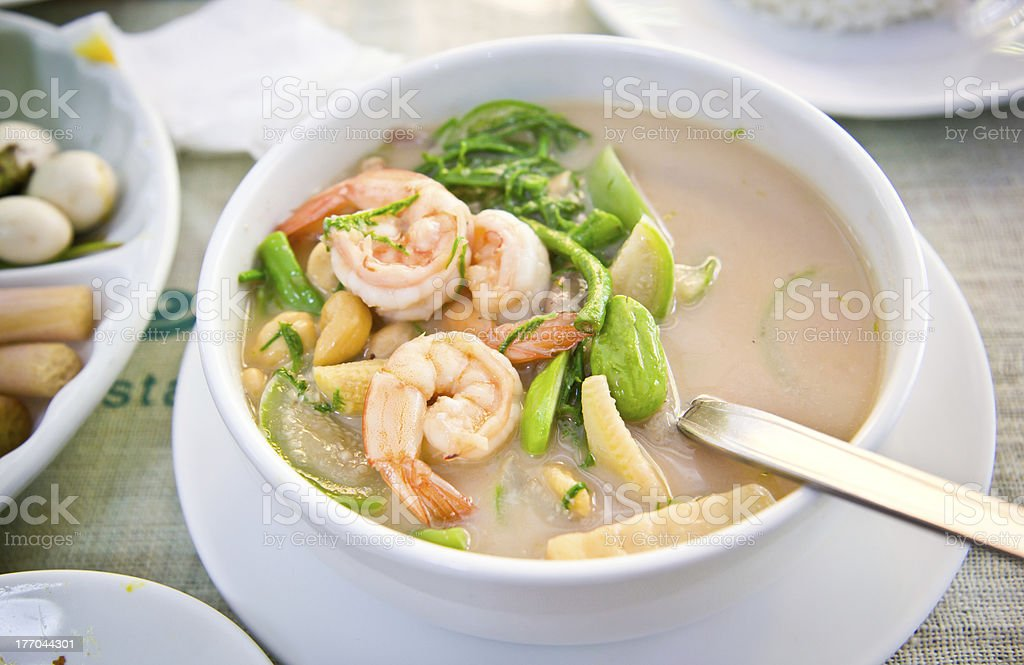 Coconut milk soup with Shrimp and Vetgetables stock photo