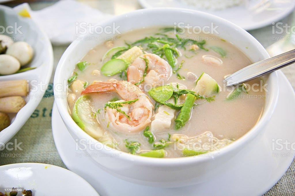 Coconut milk soup with Shrimp stock photo