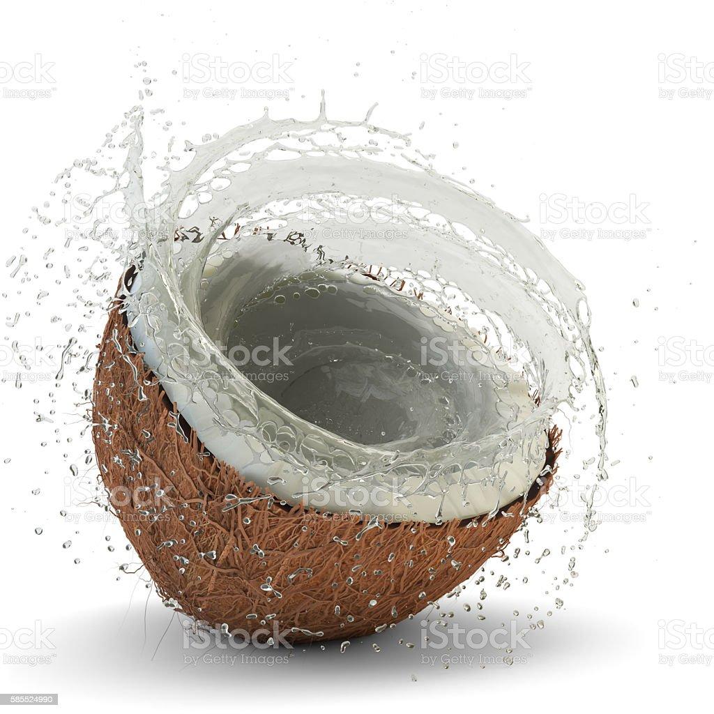 Coconut milk splash stock photo