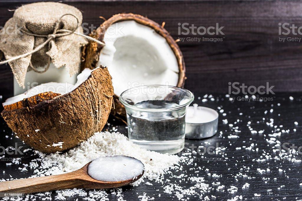 Coconut oil and coconut milk for alternative therapy stock photo
