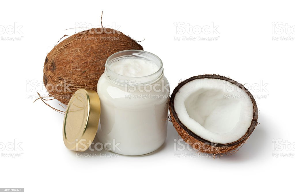 Coconut oil and fresh coconut stock photo