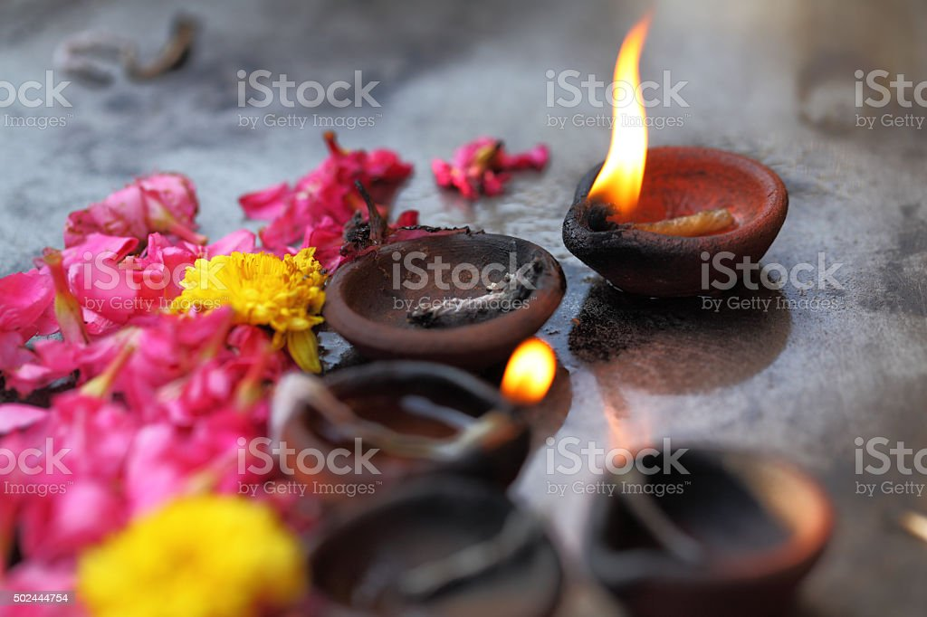 Coconut oil lamps stock photo