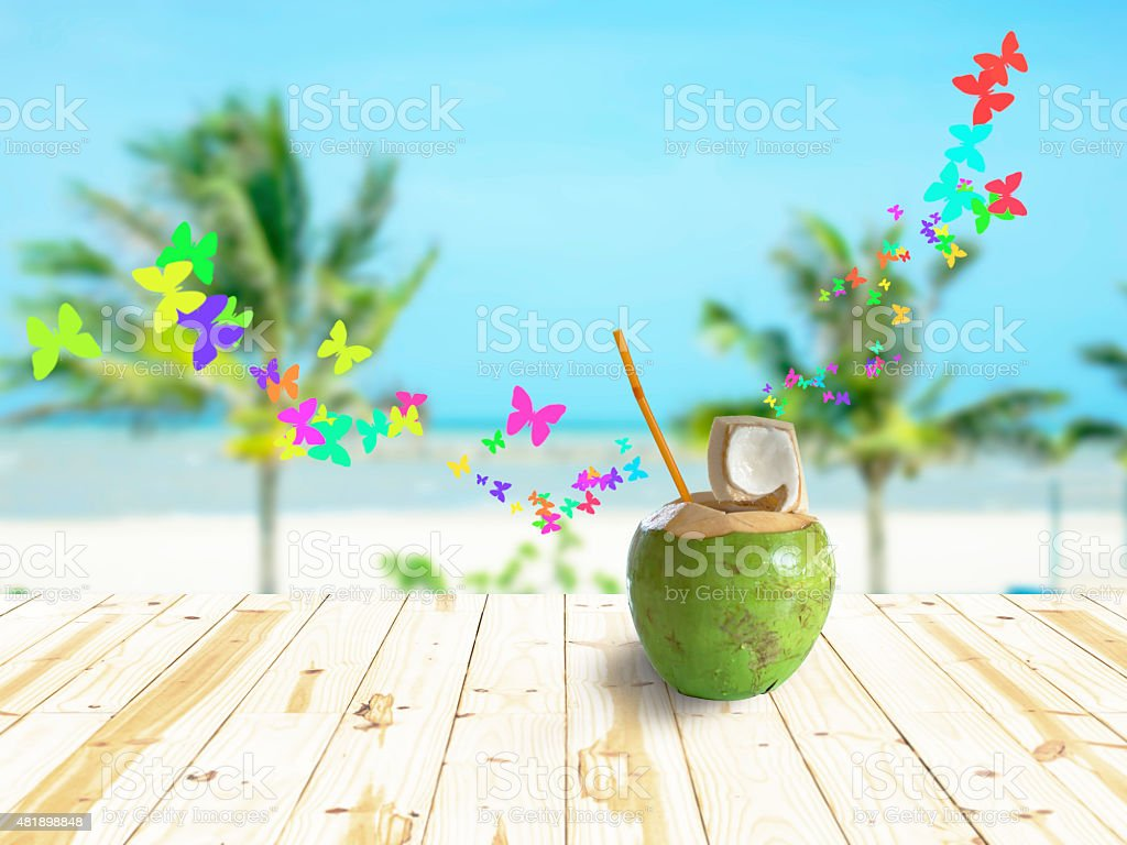 Coconut on table royalty-free stock photo