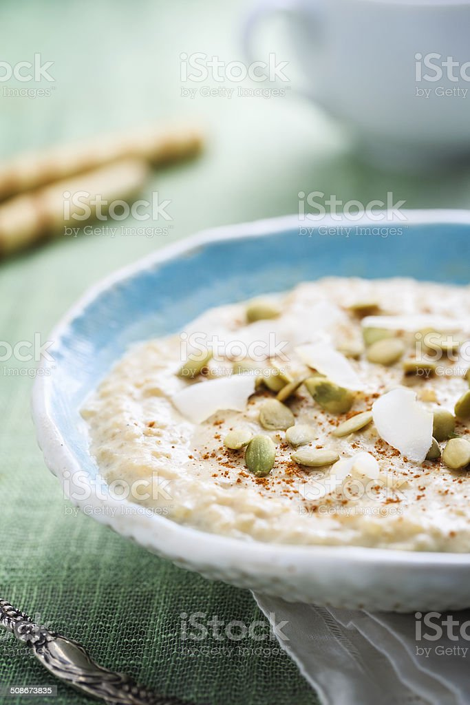 Coconut Rice Pudding stock photo