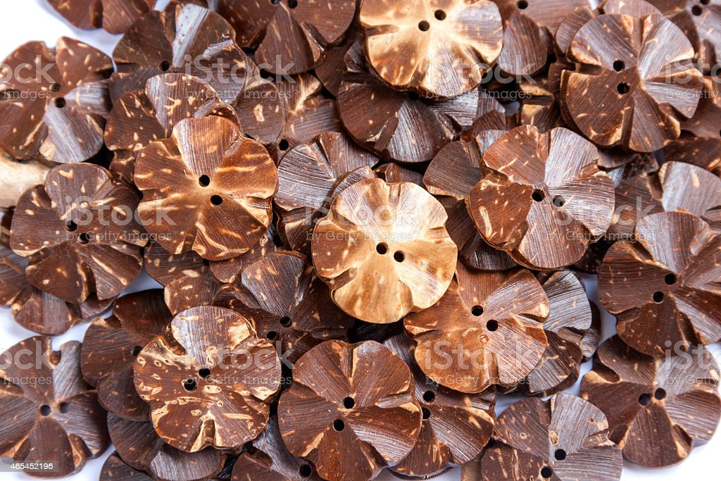 Coconut shell button flower shape close up royalty-free stock photo