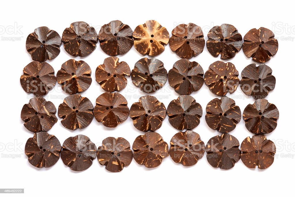 Coconut shell button flower shape royalty-free stock photo