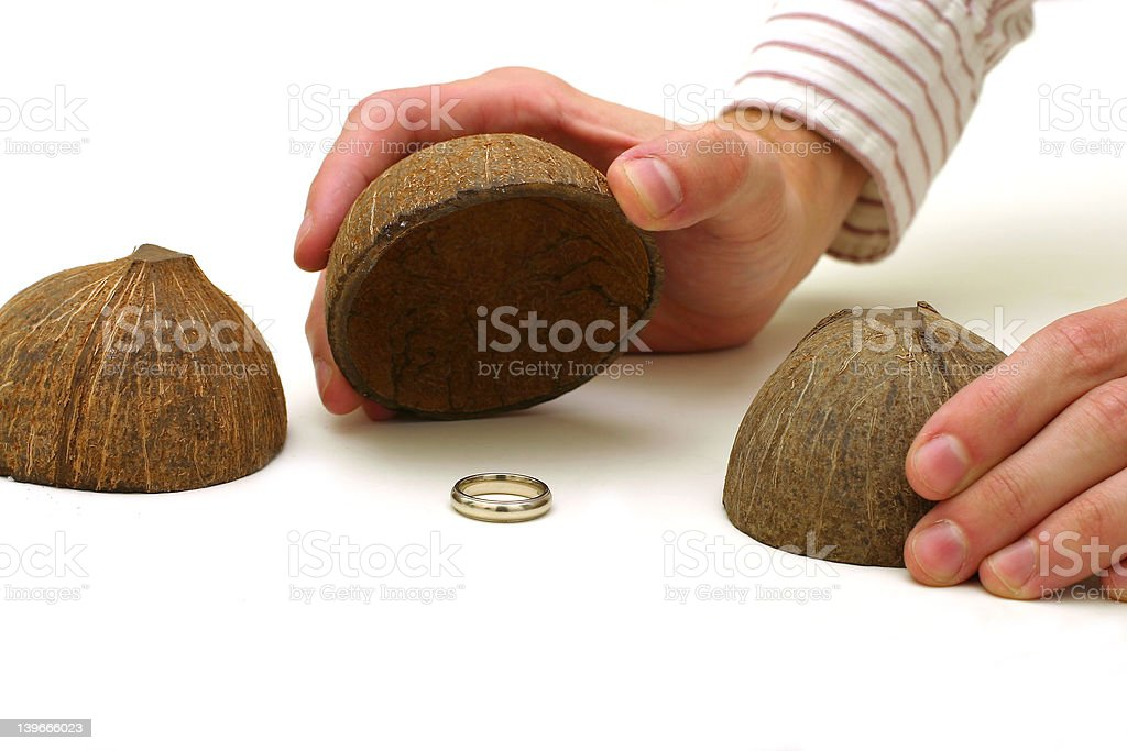 Coconut Shell Game stock photo