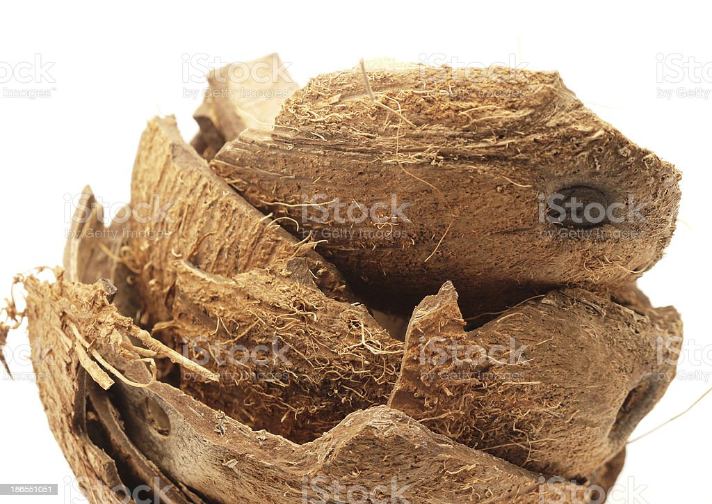 coconut shell on white royalty-free stock photo