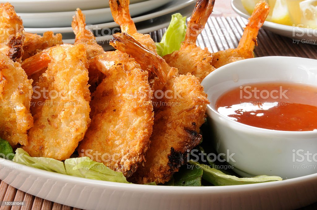 Coconut shrimp prawns royalty-free stock photo