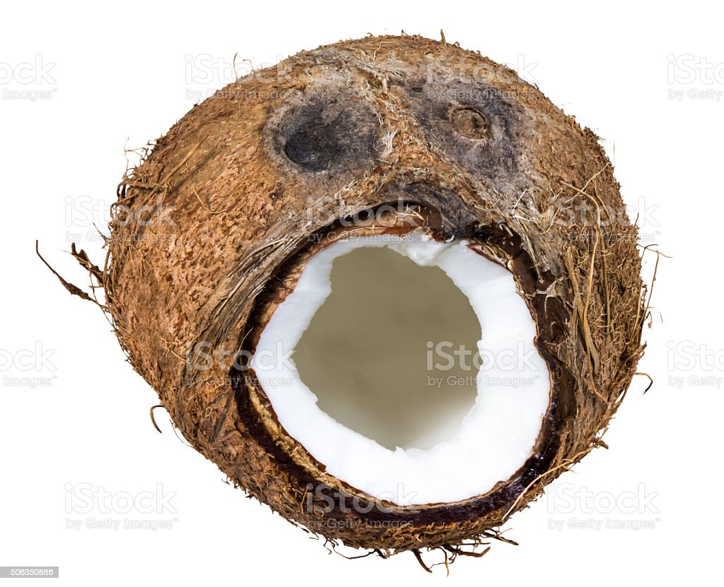 Coconut smiley face isolated on white background stock photo