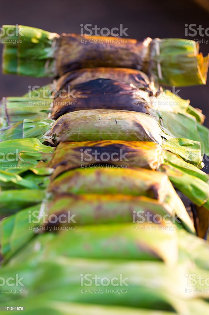 Coconut Sticky Rice in Banana Leaves stock photo