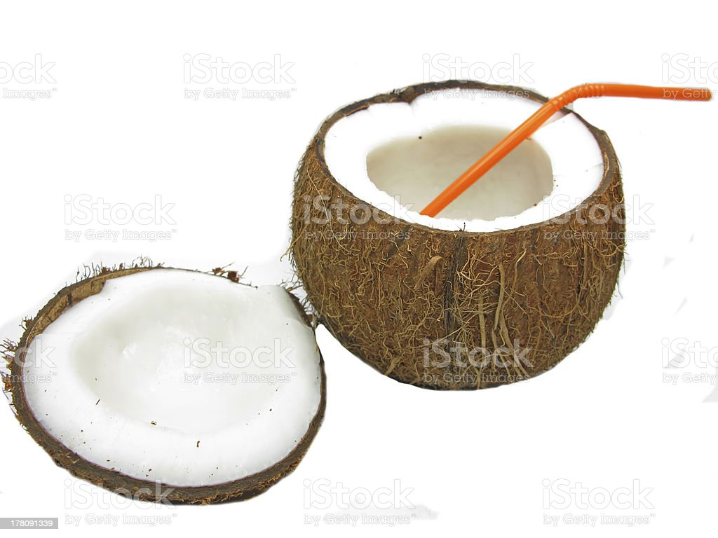 coconut tropical cocktail in nut isolated royalty-free stock photo