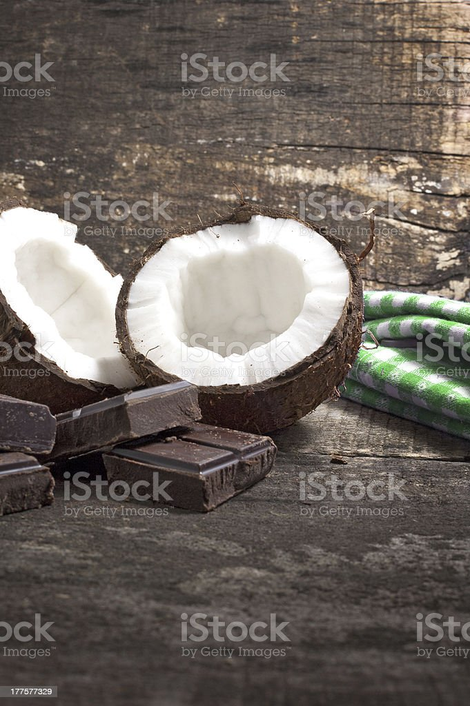 Coconut with chocolate royalty-free stock photo