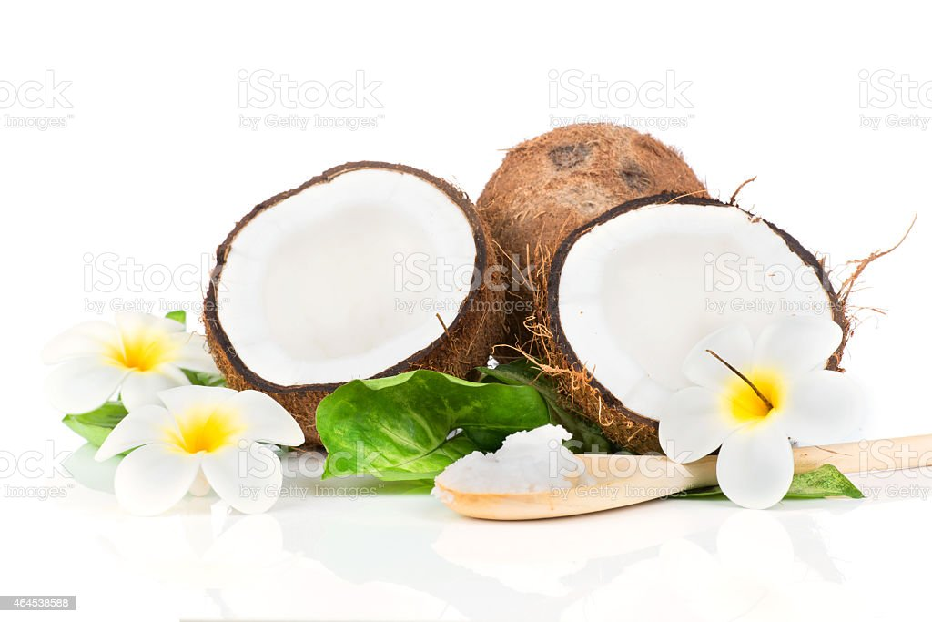 Coconut with green leaves stock photo