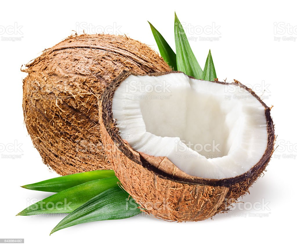 Coconut with half and leaves on white background stock photo