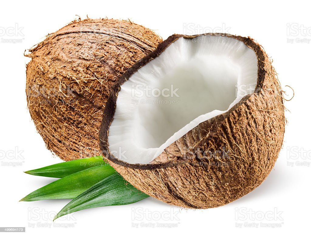 Coconut with leaf on white background stock photo