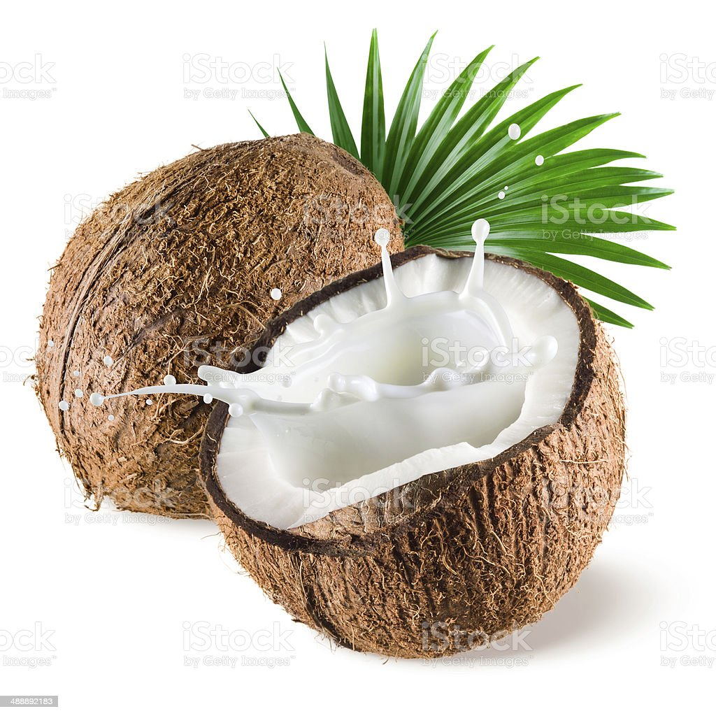 Coconut with milk splash and leaf on white background stock photo
