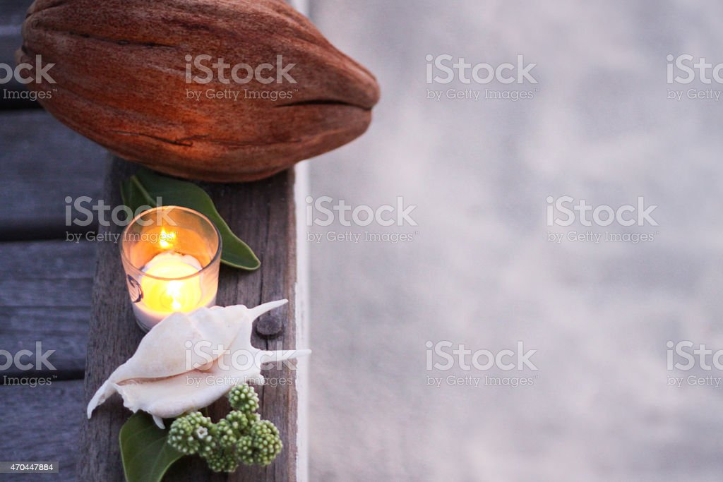 Coconut with Shell and Candle stock photo