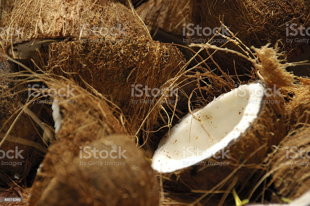 Coconuts are smashed open stock photo