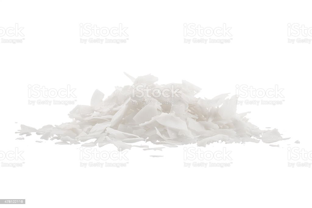 Coconut's chips, isolated on white background stock photo