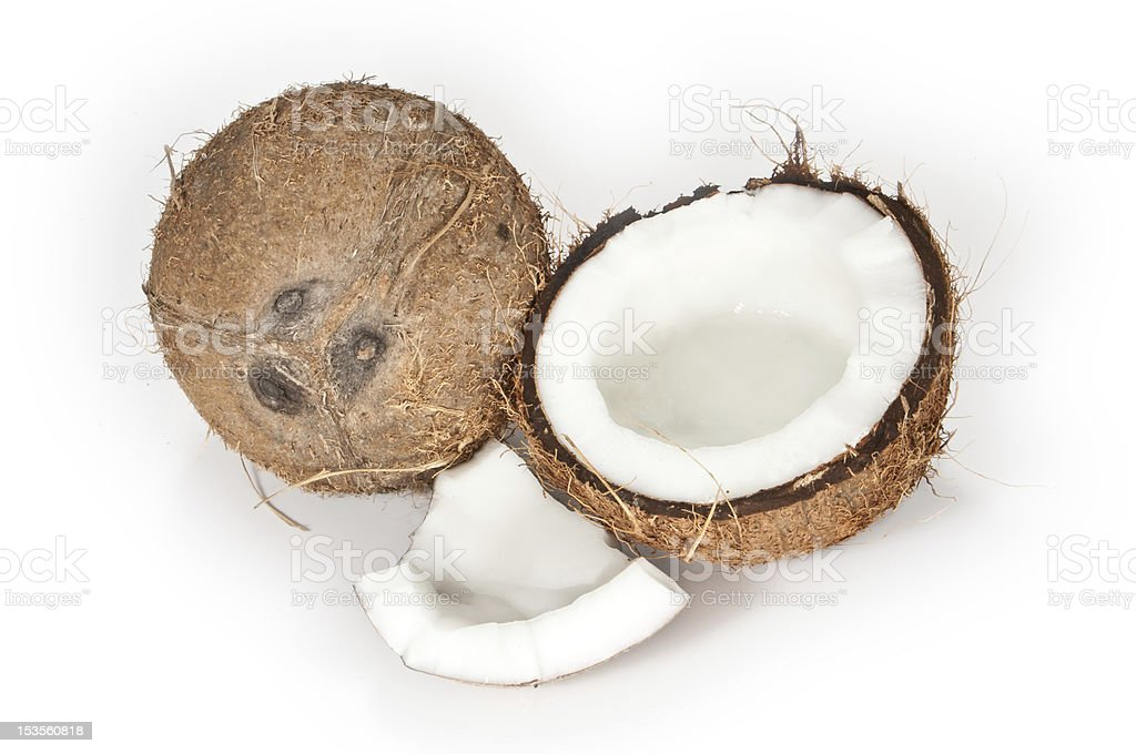 Coconuts on a white background royalty-free stock photo