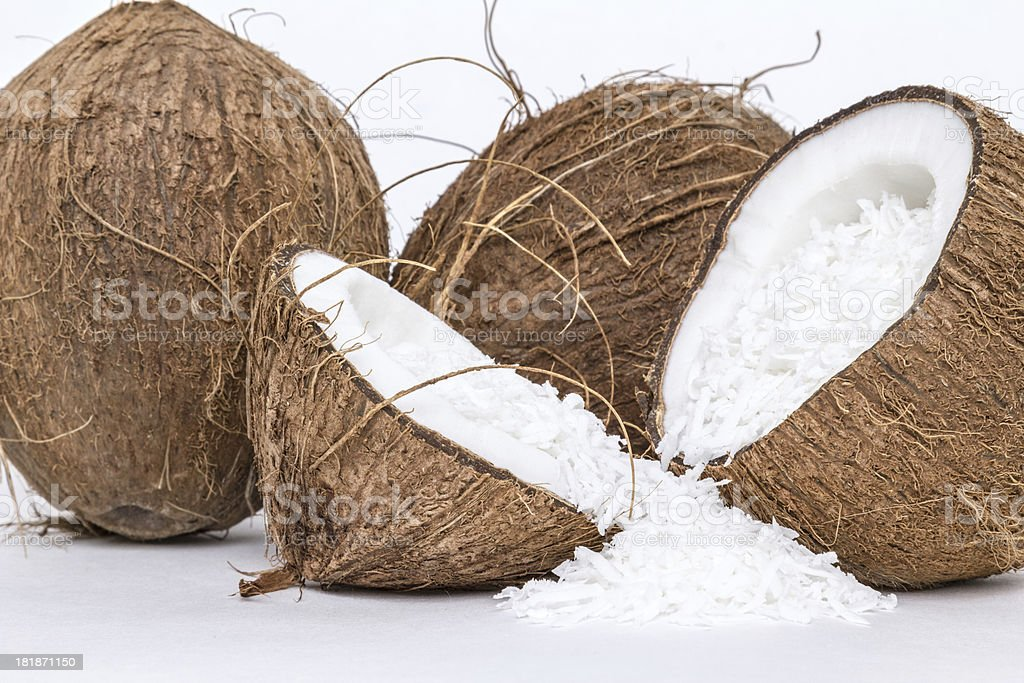 Coconuts on white background royalty-free stock photo