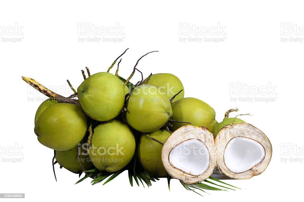 Coconuts on white background stock photo