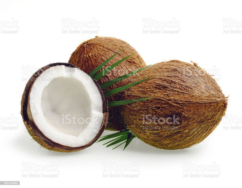 Coconuts three with Leafs royalty-free stock photo